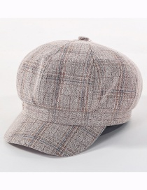 Fashion Beige Plaid Cotton Octagonal Cap