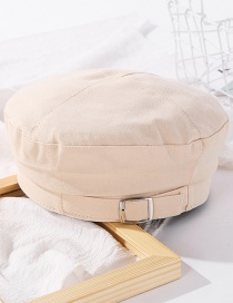 Fashion Beige Metal Belt Buckle Stitching Beret