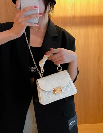 Fashion White Chain Diamond Embroidered Pleated Shoulder Crossbody Bag