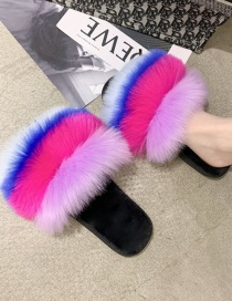 Fashion Blue Maomao Stitching Contrast Flat Slippers Reviews