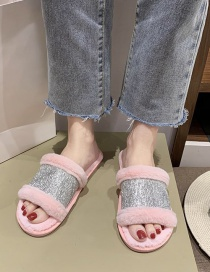 Fashion Pink Plush Stitching Flat Slippers