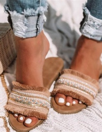 Fashion Apricot Fringed Woven Flat Slippers
