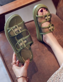 Fashion Green Belt Buckle Mesh Yarn Breathable Thick Bottom Sponge Cake And Sandals And Slippers