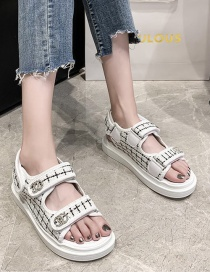 Fashion White Diamond-inlaid Alphabet Velcro Platform Platform Sandals