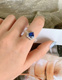 Fashion Blue Gem Woven Crystal Beaded Love Freshwater Pearl Ring