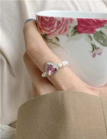 Fashion Pink Gem Woven Crystal Beaded Love Freshwater Pearl Ring