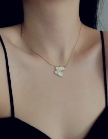 Fashion Light Gold Stainless Steel Butterfly Fritillary Round Bead Alloy Necklace