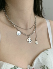 Fashion Silver Cross Chain Smiley Alloy Double Necklace