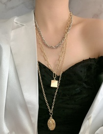Fashion Color Mixing Diamond Cross-shaped Geometric Multi-layer Contrast Color Necklace