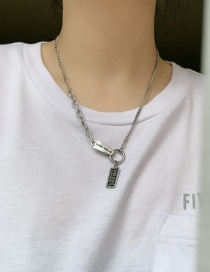Fashion Silver Stainless Steel Heavy Industry Square Asymmetric Stitching Necklace