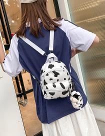 Fashion White Cow Spot Print Backpack