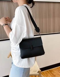 Fashion Black Shoulder Crossbody Bag With Wide Shoulder Strap Lock