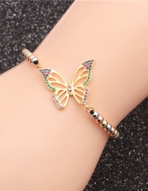 Fashion Mixed Color Bead Chain Butterfly Micro-set Zircon Butterfly Adjustable Bracelet