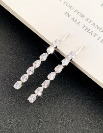 Fashion Silver One Zircon Crystal Drop-shaped Hairpin