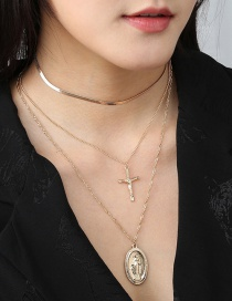 Fashion Golden Cross-shaped Goddess Relief Multi-layer Necklace