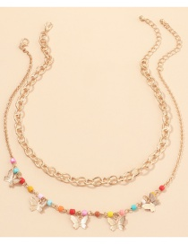 Fashion Golden Thick Chain Rice Pearl Butterfly Alloy Multilayer Necklace