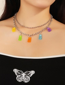 Fashion Color Mixing Round Bead Resin Bear Alloy Multi-layer Necklace