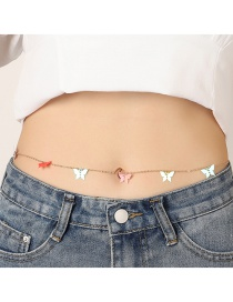 Fashion Color Mixing Sequin Butterfly Contrast Alloy Waist Chain