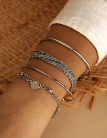 Fashion Silver Disc Tassel Multi-layer Chain Bracelet Set