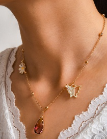 Fashion Golden Dropped Oil Small Daisy Flower Diamond Butterfly Alloy Necklace