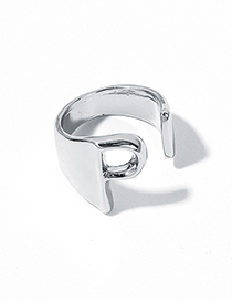 Fashion White Kp Alloy Letter Wide Edge Cutout Ring