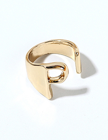 Fashion Kc Gold-p Alloy Letter Wide Edge Cutout Ring
