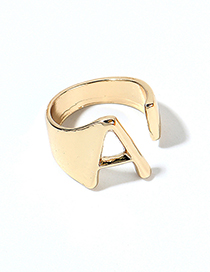 Fashion Kc Gold - A Alloy Letter Wide Edge Cutout Ring