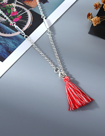 Fashion Red Cotton Thread Tassel Alloy Necklace