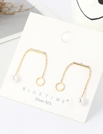 Fashion 14k Gold Round Gold-plated Pearl Earrings