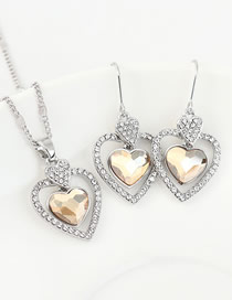 Fashion Golden Phantom Crystal Diamond Love Hollow Alloy Earring Necklace Set