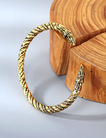 Fashion Kc Gold Geometric Relief Spiral Opening Bracelet