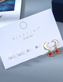 Fashion Color Mixing Gold Plated Pearl Pearl Diamond Star Moon Earring Set