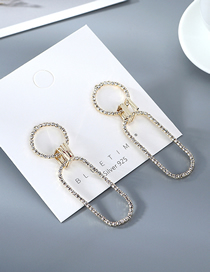 Fashion Golden Hollow Crystal Geometric Earrings In Gold Plating