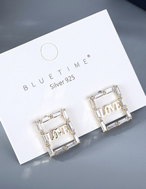 Fashion White Square Gold Crystal Earrings