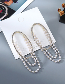 Fashion Golden Hollow Pearl Crystal Oval Earrings