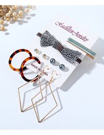 Fashion Color Mixing Diamond Pearl Resin Bow Hollow Earrings Hair Clip Hair Rope Set