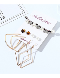 Fashion Color Mixing Resin Little Star Pearl Geometric Earrings Hair Rope Set