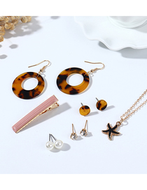 Fashion Color Mixing Starfish Resin Pearl Geometric Earrings Necklace Hairpin Set