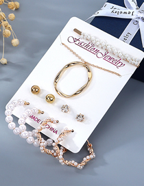 Fashion Color Mixing Pearl Winding Geometric Diamond Necklace Earrings Hairpin Set
