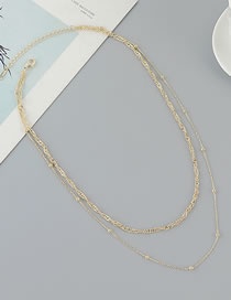 Fashion Golden Gold Plated Round Bead Chain Double Necklace