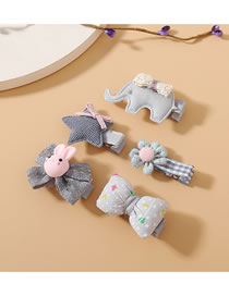 Fashion Gray Five Star Baby Elephant Bow Flower Hair Clip Set