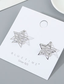 Fashion Platinum Real Gold-plated Small Star Zircon Cutout Earrings