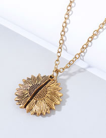 Fashion Kc Gold Sunflower Openable Alloy Necklace