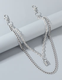 Fashion Silver Lock Alloy Multi-layer Pants Chain
