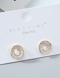 Fashion Golden Real Gold Plated Small Circle S925 Silver Pin Stud Earrings