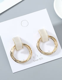 Fashion Golden True Gold Plated Opal Circle S925 Silver Pin Stud Earrings
