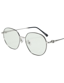 Fashion Black Silver Frame-after Changing Color Round Metal Frame Anti-radiation Anti-blue Light Flat Color Changing Glasses