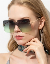 Fashion Black On Green One-piece Frameless Square Alloy Sunglasses