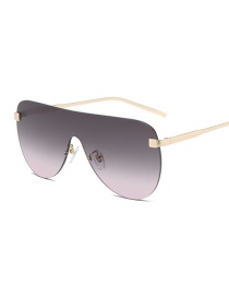 Fashion Put On Dust Large Frame One-piece Oval Alloy Sunglasses