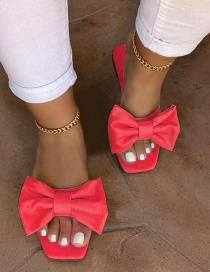 Fashion Rose Red Bow Flat Beach Sandals